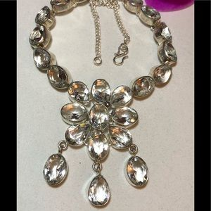 Jewelry - Sterling Silver.925 White Topaz Necklace.